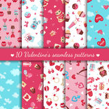 Set of Valentines day seamless patterns. Royalty Free Stock Photos