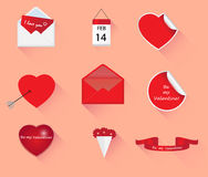 Set of Valentines day symbols with long shadows Royalty Free Stock Images