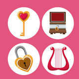 Set valentines day symbols Stock Images