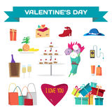 Set of valentines Day things. Vector flat cartoon illustration.  Royalty Free Stock Image