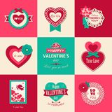 Set of Valentines day typographical backgrounds. With paper hearts, ribbons and flowers. This vector illustration can be used as greeting card or wedding stock illustration