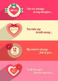 Set of Valentines day typographical horizontal. Banners with paper hearts and flowers. This vector illustration can be used as greeting card or wedding stock illustration