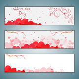 Set of Valentines day vector horizontal banners. Day, valentine, floral, love, banner, beautiful, happy, background, card, illustration, decoration, design Royalty Free Stock Images