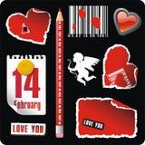 Set of valentines elements Royalty Free Stock Image