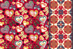Set of valentines floral background with hearts, butterfly and seamless border, band ribbon strip. Retro pattern Stock Photo