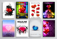 Set of Valentines Flyer Design, Invitation Cards Templates Royalty Free Stock Photography