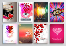 Set of Valentines Flyer Design, Invitation Cards Templates Stock Photography