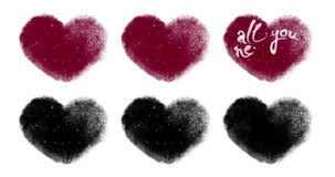 Set of Valentines Hearts for Custom Animating With Luma Matte. Set of six various Valentines hearts for custom animating with traditional coloring and luma matte stock footage