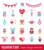 Set of Valentines icons in flat style. Stock Photo