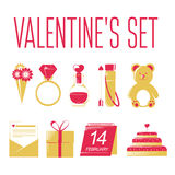 Set of Valentines icons. Set of Valentines icons on white background Royalty Free Stock Images