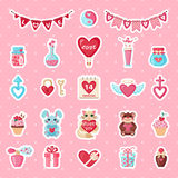 Set of Valentines stickers in flat style. Stock Photography