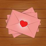 Set of Valentines on wooden background Stock Images
