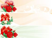 Set of valentints  banners. Vector Illustration of some abstract  backgrounds with hearts, roses and gift boxes for internet banners Royalty Free Stock Images