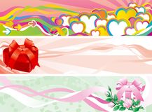 Set of valentints  banners. Three Vector abstract  backgrounds with hearts, roses and gift boxes for internet banners Stock Photo