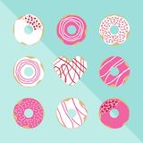 Set of Valenvine`s day theme doughnuts on blue background vector illustration