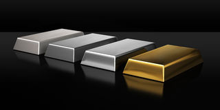 Set of valuable metal ingots. A set of valuable metal ingots on black. Computer generated 3D photo rendering Royalty Free Stock Image