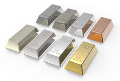 Set of valuable metals ingots isolated on white. Computer generated 3D photo rendering Stock Images