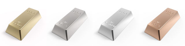 Set of valuable metals ingots isolated on white. Computer generated 3D photo rendering Stock Photography