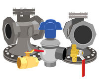 Set of valves. Vector illustration of a set of valves Stock Photos