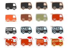 Set of van icons Stock Images