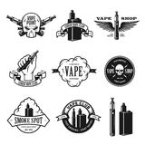 Set of vape, e-cigarette emblems, labels, prints and logos. Vector illustration. Stock Image