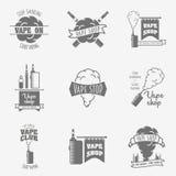 Set of vape, e-cigarette emblems, labels, prints and logos  on white background. Vintage vector illustration Royalty Free Stock Images