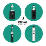 Set vaping flat icons Stock Photography