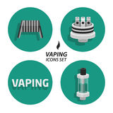 Set vaping flat icons Royalty Free Stock Photos