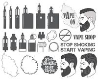 Set of vaping objects icons, elements stock illustration