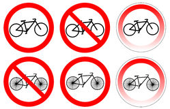 Set of variants a bicycle stop sign Royalty Free Stock Photo