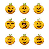The Set of variants carved pumpkin smileys Stock Image