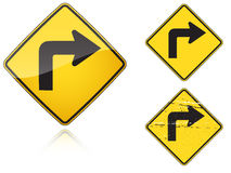 Set of variants Right Sharp turn traffic road sign. Isolated on white background. Group of as fish-eye, simple and grunge icons for your design. Vector Royalty Free Stock Photography