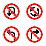 Set of variants a U-Turn forbidden - road sign  on white background. Group of as fish-eye, simple and grunge. Vector set of arrow road forbidden signs, a U-Turn Royalty Free Stock Photography