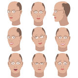 Set of variation of emotions of the same bald guy with glasses Stock Photos