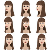 Set of variation of emotions of the same girl. Stock Photos
