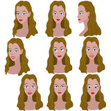 Set of variation of emotions of the same girl with brown hair. Stock Image