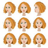 Set of variation of emotions of the same girl with red hair. Stock Photography