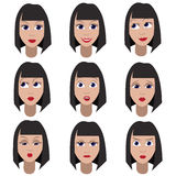 Set of variation of emotions of the same girl. She is remembering, thinking, sad, dreaming, angry, surprised, sending a kiss, outr Royalty Free Stock Image