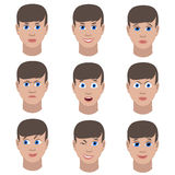 Set of variation of emotions of the same guy. He is smiling, sad, angry, surprised, outraged, confused, winking, in love. Stock Images
