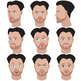 Set of variation of emotions of the same man with beard Stock Photo