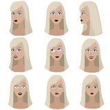 Set of variation of emotions of the same woman with blond hair. She is thinking, upset, dreaming, angry, surprised, outraged, smiling. She have long straight Stock Image