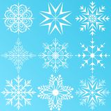 Set variation snowflakes isolated Royalty Free Stock Photography