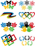 Set of variations of Olympic rings.Vector. A set of variations on the theme of Olympic rings Palm,butterflies,tape,snowflakes,squares,wreaths in colors of the Royalty Free Stock Images