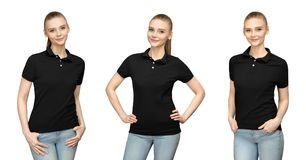 Girl in blank black polo shirt mockup design for print and template young woman in T-shirt front and half turn side view isolated. Set variations promo pose girl Royalty Free Stock Photo