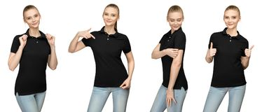 Girl in blank black polo shirt mockup design for print and template young woman in T-shirt front and half turn side view isolated. Set variations promo pose girl Royalty Free Stock Photos
