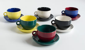 Set of varicolored cups