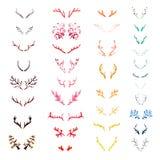 Set of varicolored watercolor deer horns Stock Images