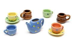 Set of the varicoloured ceramic dishes Royalty Free Stock Photo