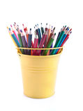 The set of varicoloured pencils in the pail Stock Photos