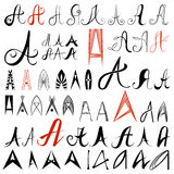 Set of 50 varied hand drawing  letters A. Can be. Used as elements of logo design Royalty Free Stock Photography